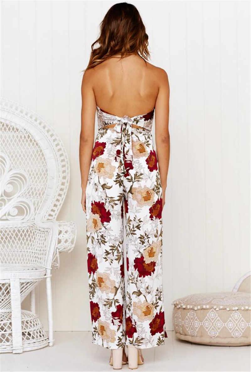 Kwiatowy kwiat wydruku długie pajacyki kobiet kombinezon Off ramię bez ramiączek, na plażę, luźne body kobieta lato 2019 dorywczo kombinezony