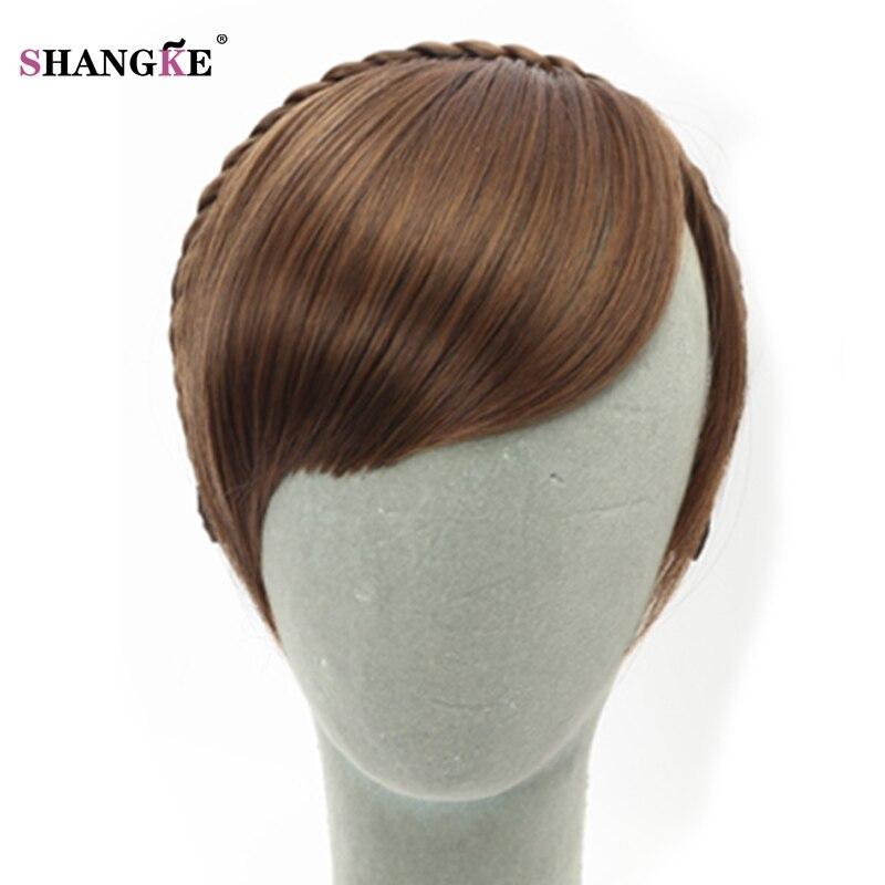 shangke corto gradiente mujeres natural pelo de la trenza trenza del pelo flequillo flequillo mujeres falso