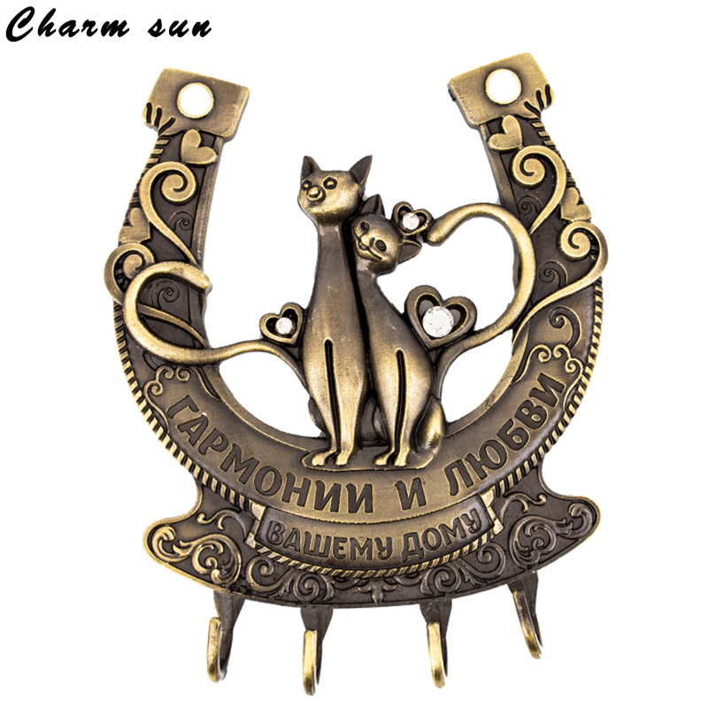 Home decor.screw fixation,Wall Door Hook Hanger Keys&Clothes.living room vintage Holder.Cat in pairs .Live happily together