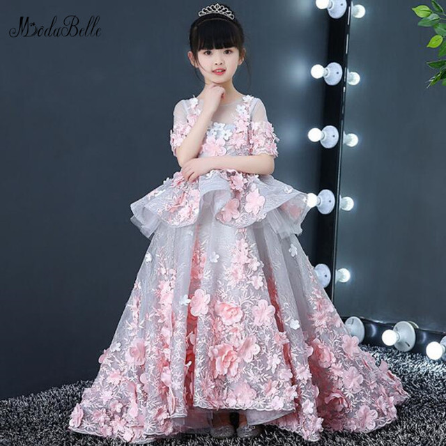 e132a8501c0 modabelle 3D Flowers Princess Flower Girl Dress Vestidos Comunion Girl Ball  Gown Party Pageant Dress Abito Cerimonia Bambina