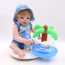 55CM Full Silicone Body Reborn Baby Boy Doll Vinyl Newborn Princess Babies Bebe Bathe Accompanying Toy Birthday Gift Brinquedos