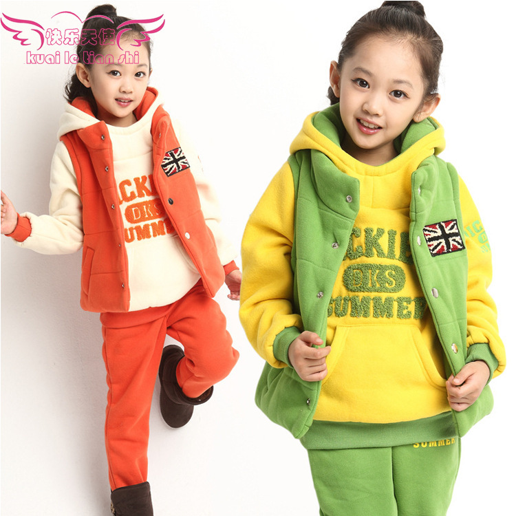 2015 Autumn/Winter New Children's Thick Cotton Padded Hoodie Three Sets,Girls/Boys Clothing Set For Winter