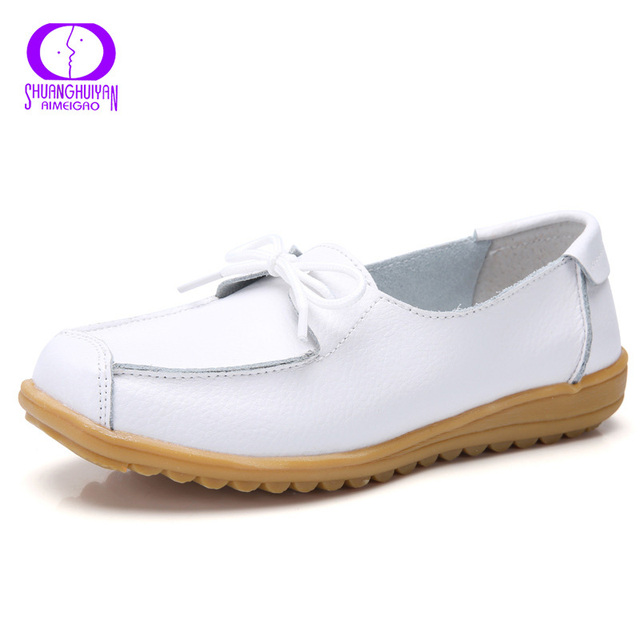 8c57b8c96 AIMEIGAO Casual Lace Up Soft Leather Loafers Women Spring Shallow Round Toe  Flats Shoes Women Big Size Low heel Shoes For Women