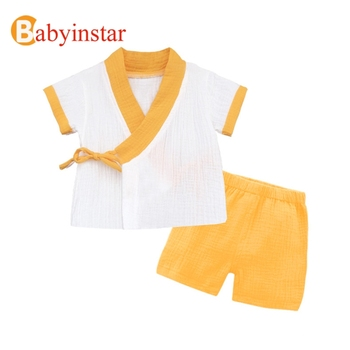 Babyinstar 2019 New Baby Girl Cotton Clothing Sets Children Summer Fashion Outfits 2 Pcs Sets Tops + overall Outerwear 1