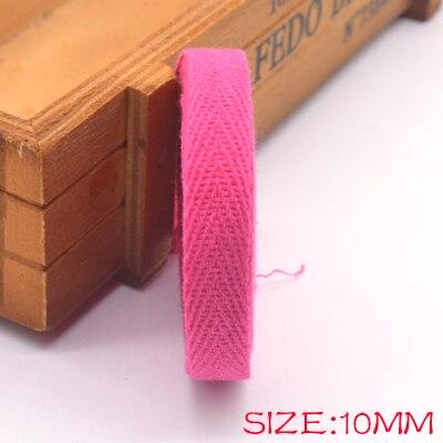 Новые цветные 10 мм шеврон хлопок ленты тесьма сельдь bonebinding ленты кружева обрезки для упаковки аксессуары DIY - Цвет: rose 406