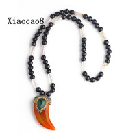 36cm Handmade Unisex Necklaces Pendants High Quality Nature Stone Short Necklace Men Jewelry