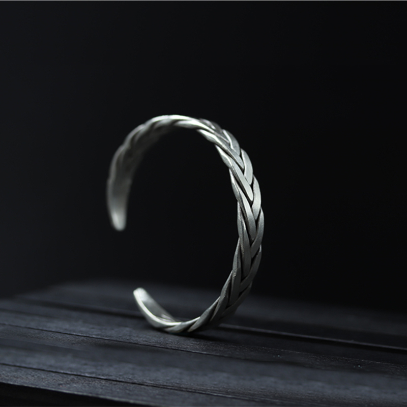 S999 Sterling Silver Cuff Bangle For Women Thai Silver Woven Jewelry High Quality Vintage Heavy Bracelet brazalete de joy vintage carved metal tibetan silver cuff bracelet bangle for women