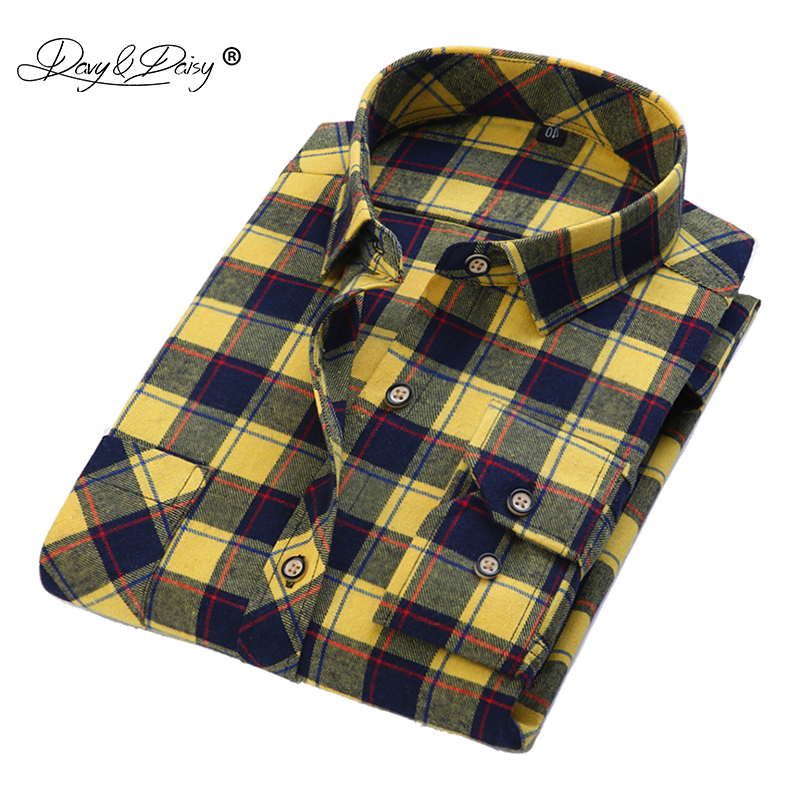 Davydaisy men shirt high quality turn down collar long for Best flannel shirt brands