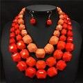 Perlas africanas joyería conjunto 2016 de big chunky collares collier nigeriano boda perlas africanas joyería conjunto crystal choker para las mujeres