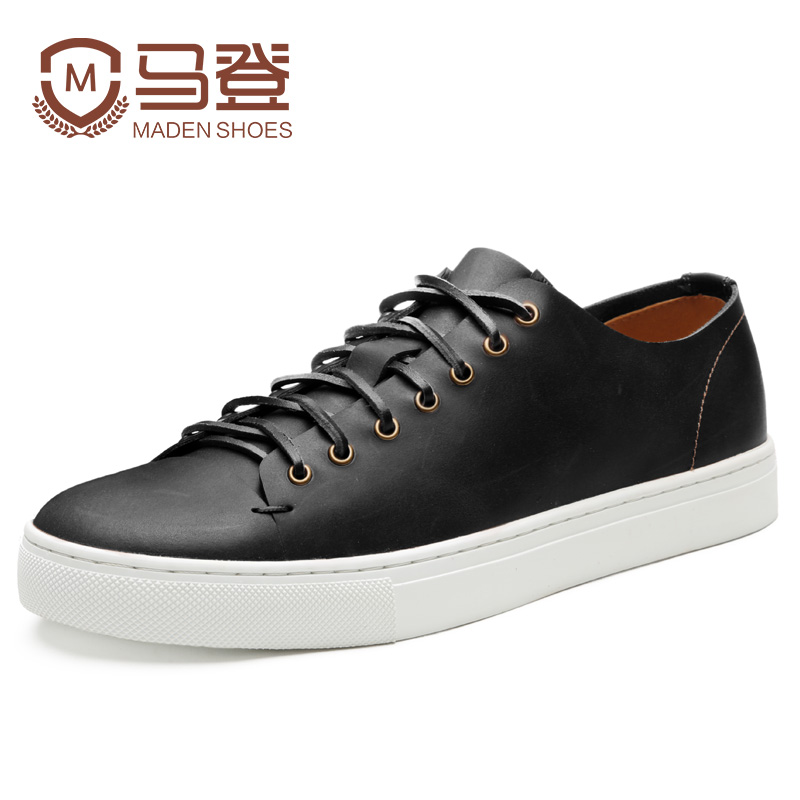 Maden Brand 2017 Spring Genuine Leather Vintage Men Casual Shoes British Style Leisure Beeswax Flat Platforms Zapatos Hombre maden 2017 new fashion designer men leather casual shoes high quality zapatillas deportivas hombre british style summer shoes