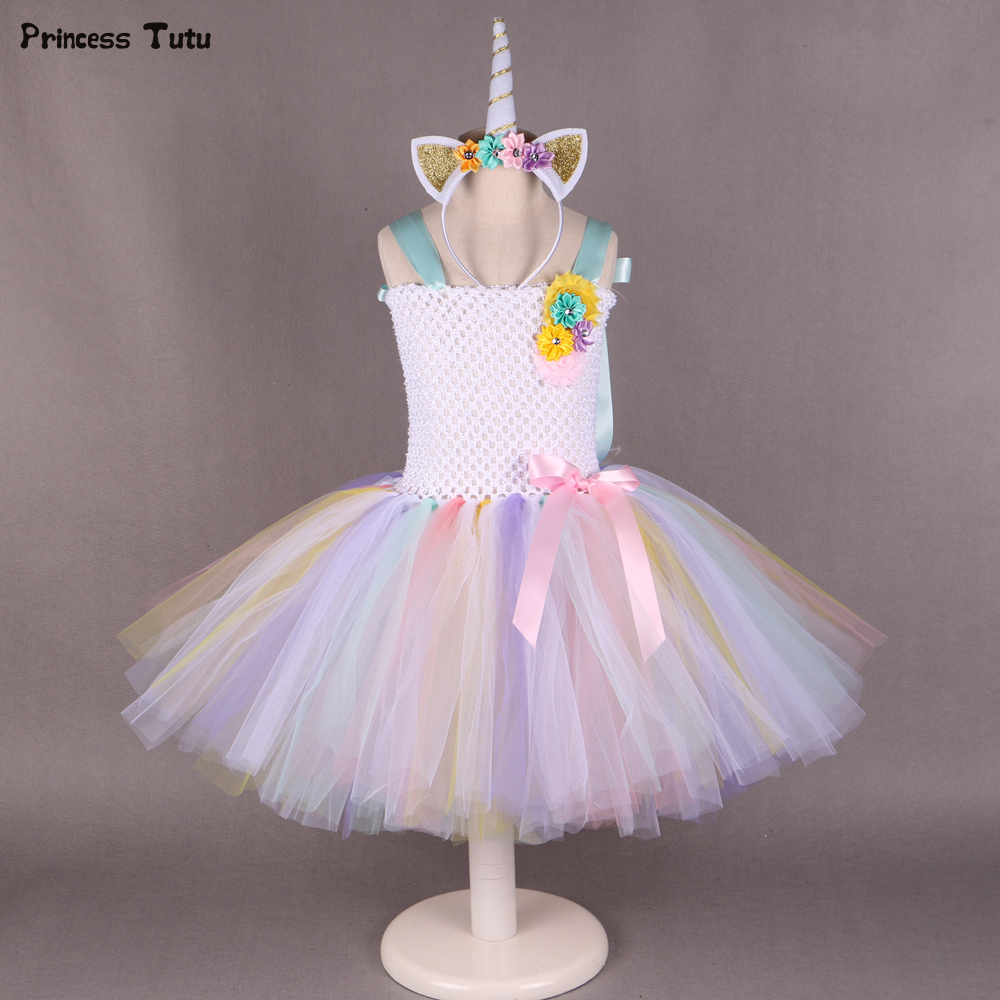 Pony Unicorn Tutu Dress Girl Kids Birthday Party Dress Up Rainbow Girls Christmas Halloween Cosplay Dress Costume With Headband 1set baby girl polka dot headband romper tutu outfit party birthday costume 6 colors