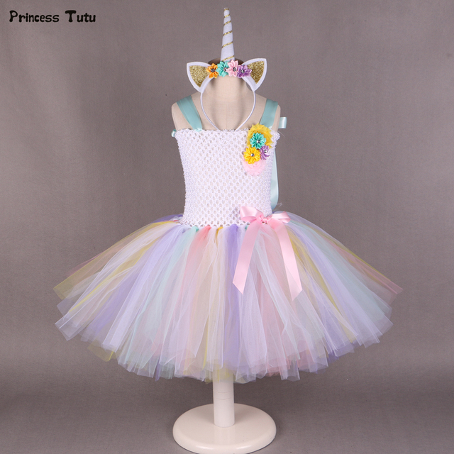 Pony Unicorn Tutu Dress Girl Kids Birthday Party Dress Up Rainbow Girls  Christmas Halloween Cosplay Dress Costume With Headband d3c2672e54c8