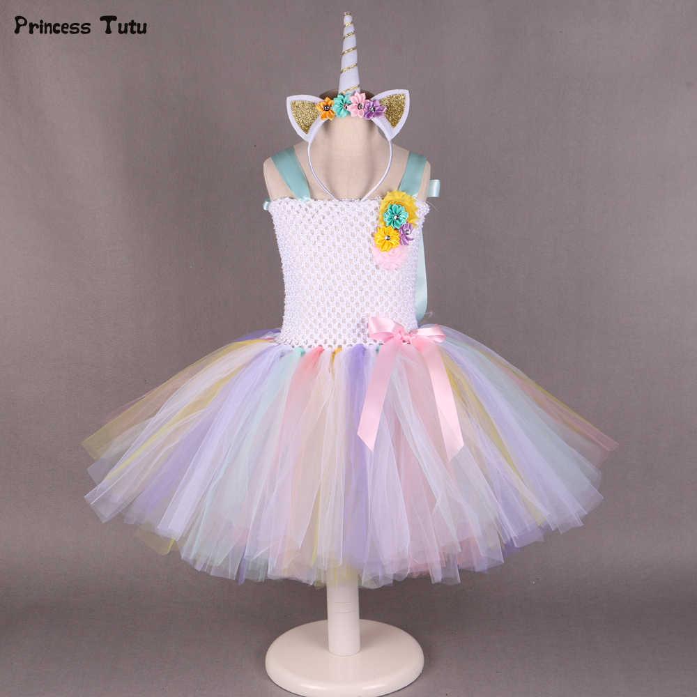 9cce606ce54a1 Pony Unicorn Tutu Dress Girl Kids Birthday Party Dress Up Rainbow Girls  Christmas Halloween Cosplay Dress