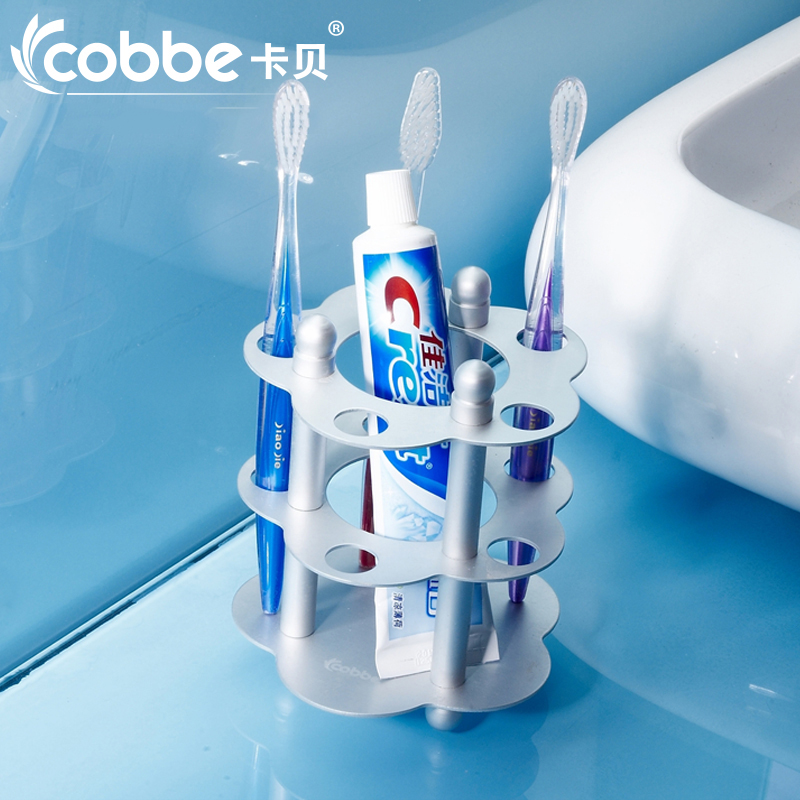 Space aluminum double cup tooth cup holder toothbrush cup holder tumbler holder glass wash cup toothpaste holder set toothbrush toothpaste holder cup ground glass gargle tooth mug square hanger rail shelf rack set