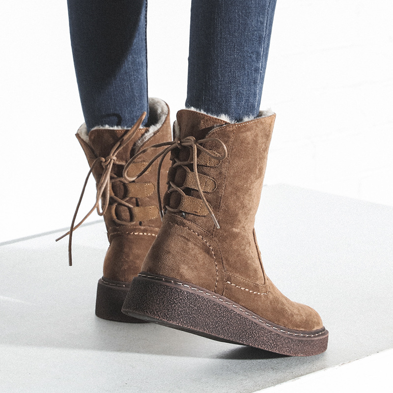 Jookrrix 2018 Winter New Western Style Fashion Boots Flock Shoes Women Thick Sole Lady Warm Shoe Cross-tied Black Good Quality