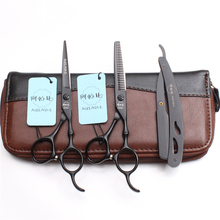 3Pcs/Set A9030 6 Professional Hairdressing Human Hair Scissors Japan Steel 440C Razor + Cutting Shears Thinning