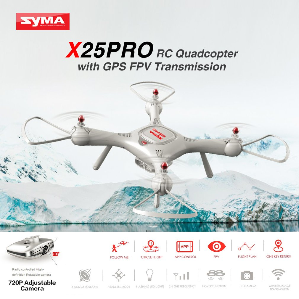 Syma X25 PRO 2.4G GPS FPV Professional RC Drone Quadcopter 720P HD Wifi Adjustable Camera Altitude Hold kids drone Gifts bateria image