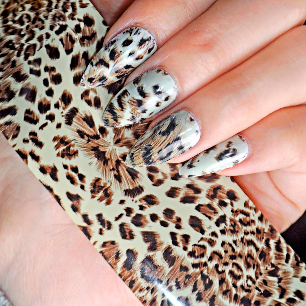 100cm x 4cm Sexy Leopard Pattern Nail Art Transfer Foils Decal Tip Glue Polish Sticker DIY Manicure Tools 452 leopard pattern adhesive decorative nail tip black deep pink 100 pcs