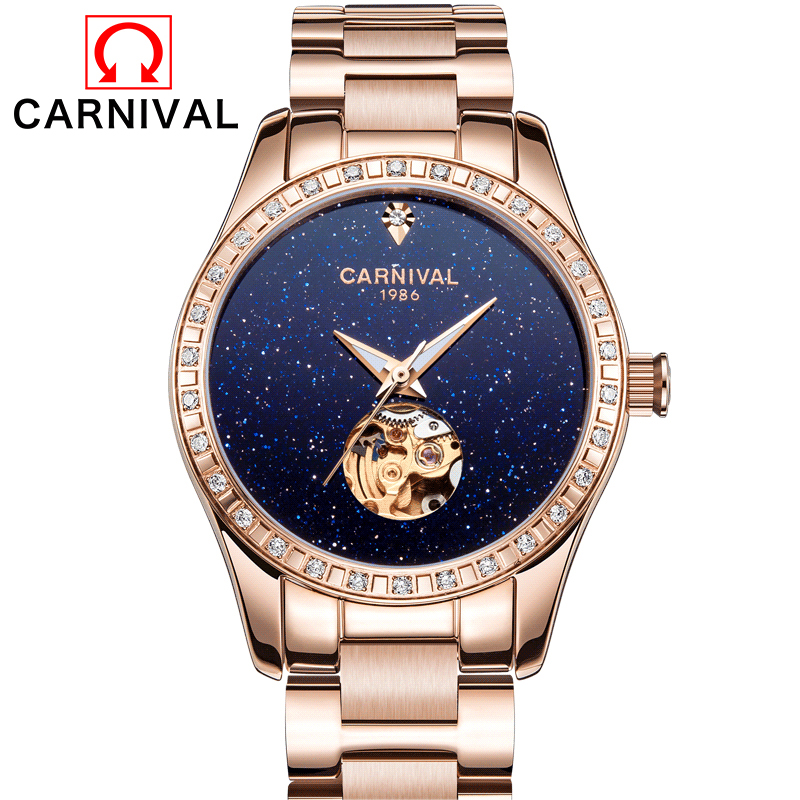 Skeleton Sapphire Crystal Women Mechanical Watch Luxury Brand CARNIVAL Women Automatic Mechanical Watch Women Diamond Dress blue indian luxury headpieces king queen unisex cosplay costumes diamond feather headdress for women and men peagents carnival