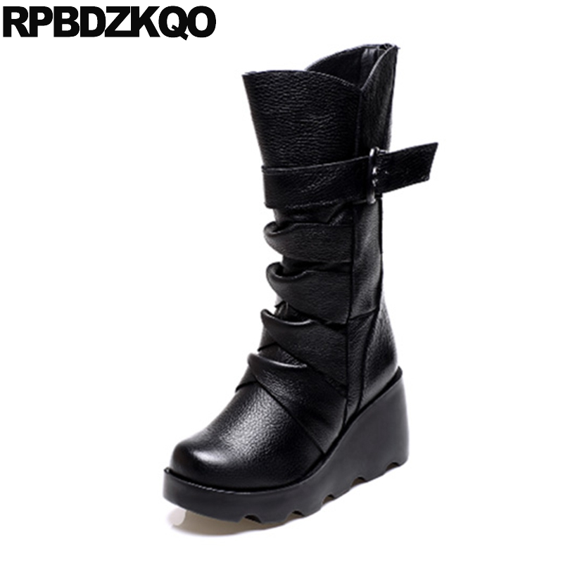 Harajuku Belts High Heel Shoes 2017 Round Toe Retro Mid Calf Vintage Black Wedge Waterproof Winter Boots Women Japanese Platform new arrival superstar genuine leather chelsea boots women round toe solid thick heel runway model nude zipper mid calf boots l63