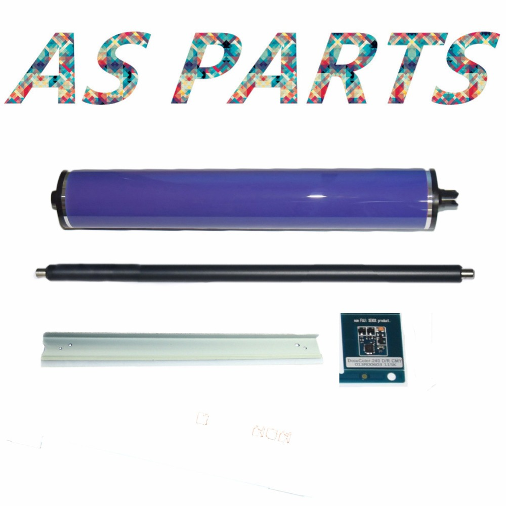 1Set PCR Primary Charge Roller 013R00663 013R00664 drum chip Cleaning Blade OPC Drum for Xerox dc