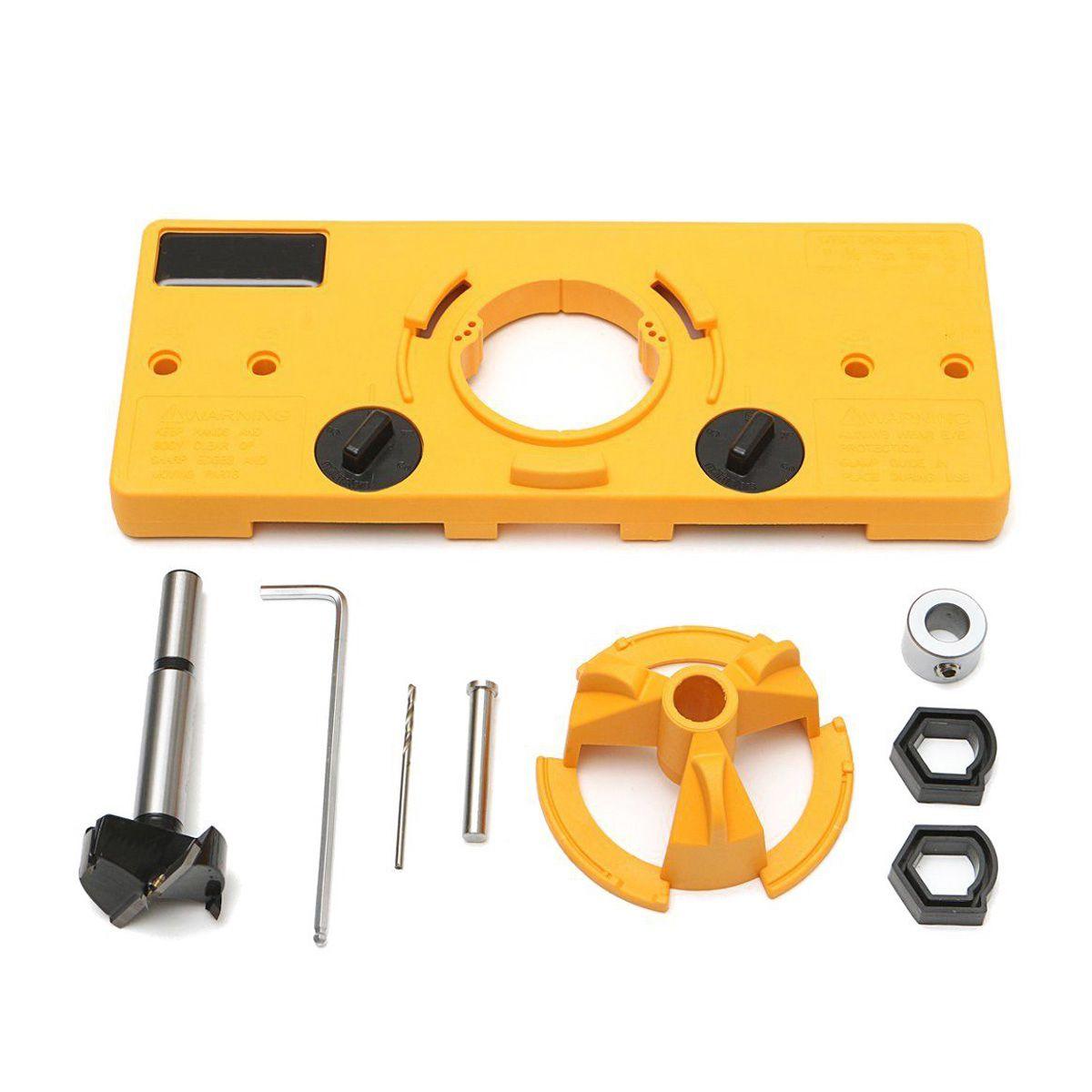 35mm Forstner Hinge Hole Saw Jig Drilling Guide Locator Hole Opener Door Cabinets DIY Woodworking Tool