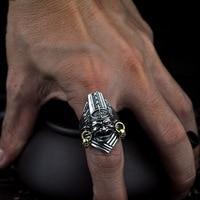 100% 925 Sterling Silver Black & White Impermanence Open Rings for Men Vintage Thai Silver Adjustable Finger Male Ring Jewelry