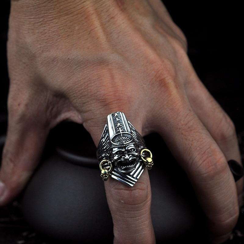 100% 925 argent Sterling noir et blanc Impermanence anneaux ouverts pour hommes Vintage Thai argent réglable doigt mâle bague bijoux