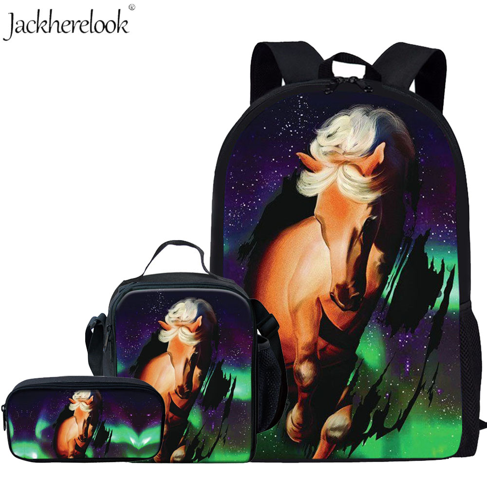 Crazy Horse School Bags Set For Boys Kids School Backpack Primary Children Animal Book Bags Students Schoolbag Satchel Mochila