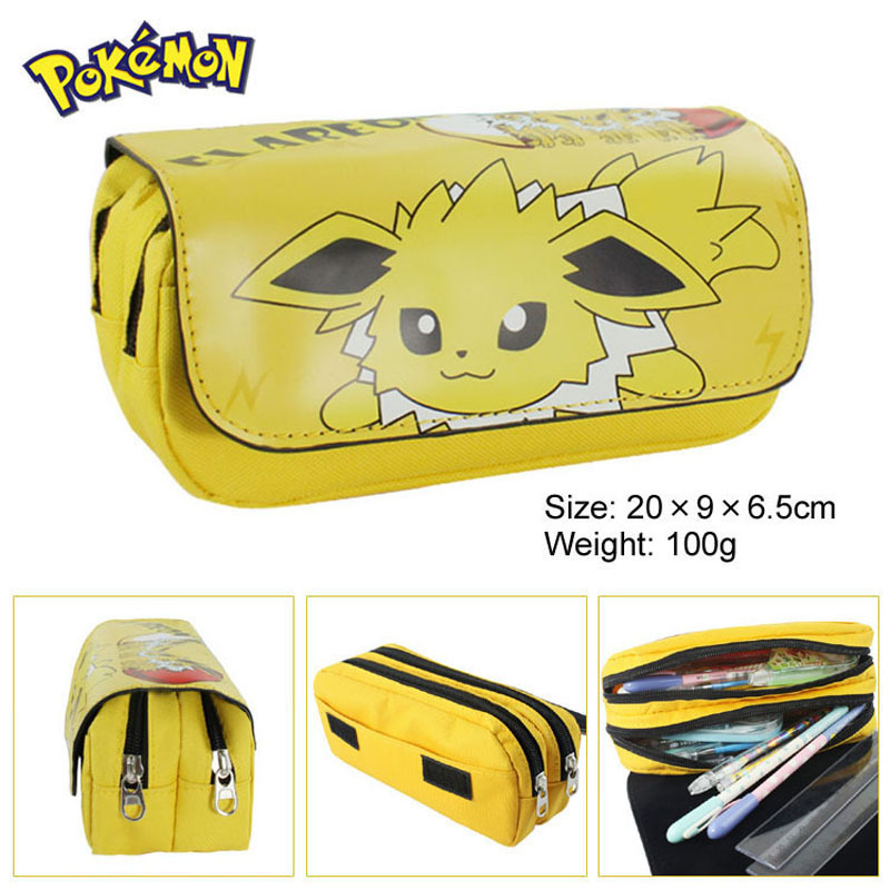 Hot Sell Game Pokemon to Pencil Case Wallet Poke Eevee Pikachu Cosmetic Makeup Coin Pouch Double Zipper Pen Bag cartoon pencil pen case gravity falls totoro dragon ball zelda adventure time cosmetic makeup coin pouch zipper bag