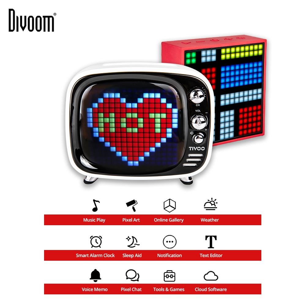 Divoom Tivoo Timebox Evo Portable Pixel Art Wireless Bluetooth 5.0 Speaker LED Clock Smart Alarm Clock With App For IOS Android image