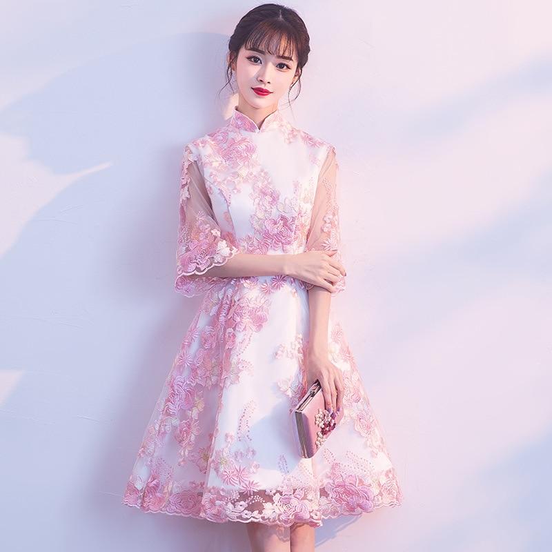 Розовый Мини Qipao Кружева Вышивка Китайская традиционная свадьба Cheongsam современный китайский халат Qi Pao старинные восточные платья s xxxl