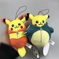 """Poke Doll Pikachu 4"""" Ichiban Kuji Nebukuro F Mascot Snorlax Flareon plush Doll Toy Cell Phone strap"""