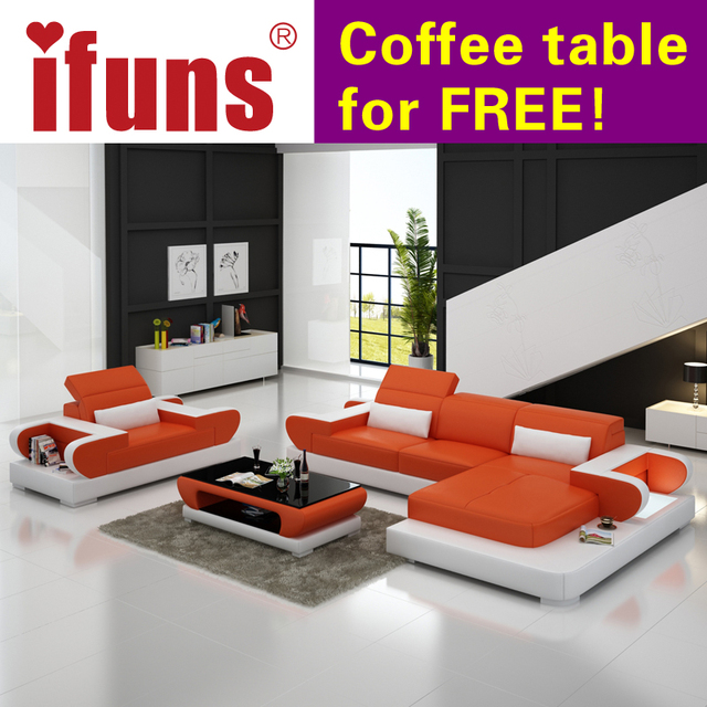 IFUNS Sofas for living room large corner sofa modern design l shaped sectional sofa genuine leather : leather l shaped sectional sofa - Sectionals, Sofas & Couches