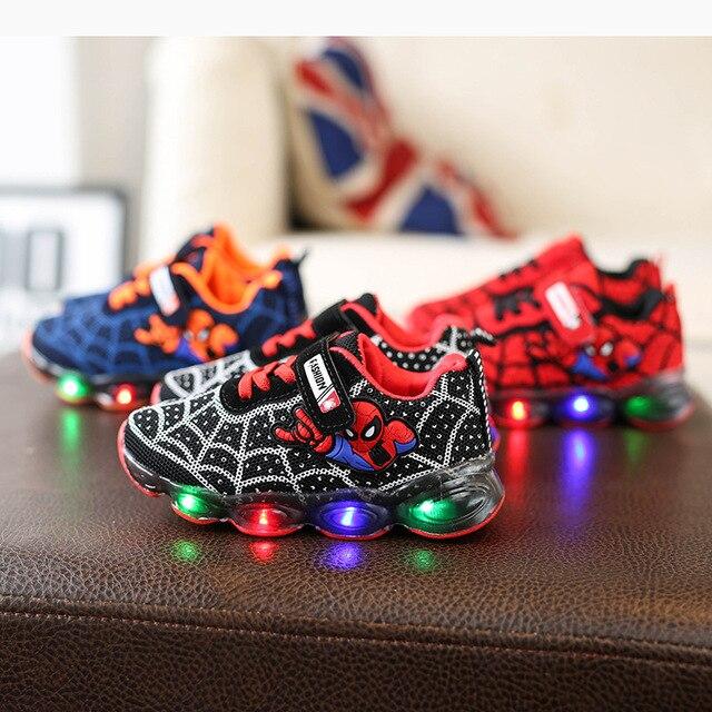 חדש אביב ספיידרמן ילדי נעליים עם אור ילדים Led נעלי זוהר זוהר סניקרס תינוק פעוט בנות נעלי מערכות