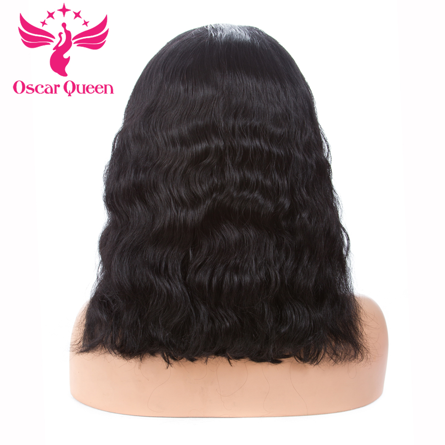 Oscar Queen Remy Brazilian Hair Full Lace Wigs Short Wavy Wig With Baby Hair PrePluck Natural Hairline Bleaches knots