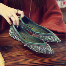 silver glitter ballet flats women pointed toe metal chains mules shoes V  open sequined espadrilles women 5333351a8e66
