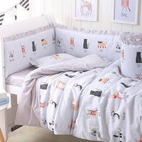 Baby Bedding Set Cotton Bed Linen For Baby Cartoon Bumper Protecor Newborns Crib Bedding Set Kids Breathable Cot Bumper 4pcs/set