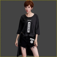 Europena 2017 Summer New Women Clothing O Neck Half Sleeve Letter Tops Female Long Style Tail