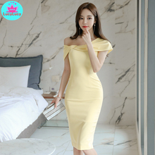 2019 Korean style summer dress new women's tight-fitting sexy strapless word collar bag hip dress Knee-Length  Off the Shoulder mesh shoulder form fitting dress