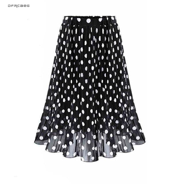 Женская плиссированная шифоновая юбка, пляжная юбка средней длины в горошек с эластичным поясом, 4XL, 5XL, лето 2019