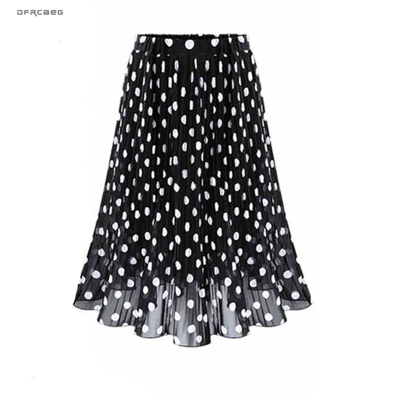 4XL 5XL Plus Size Pleated Chiffon Skirt For Woman 2019 Summer Elastic Waist Polka Dot Print Beach Skirts Femme Saia Midi