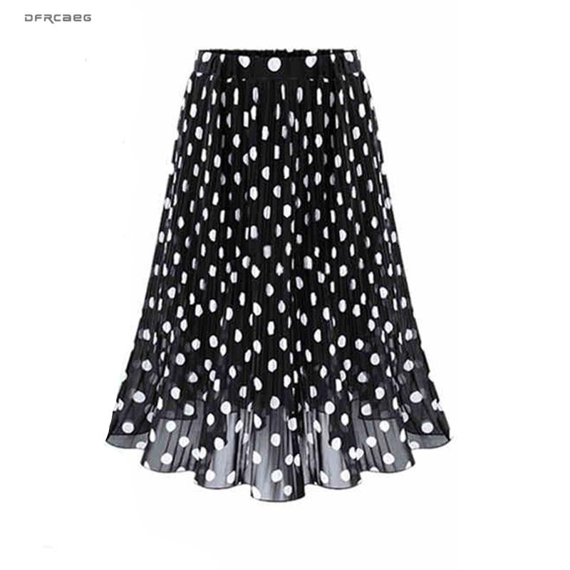 4XL 5XL Plus Size Pleated Chiffon Skirt For Woman 2019 Summer Elastic Waist Polka Dot Print Beach Skirts Femme Saia Midi-in Skirts from Women's Clothing