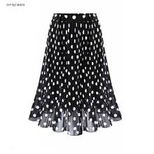 4XL 5XL Plus Size Pleated Chiffon Skirt For Woman 2019 Summer Elastic Waist Polk