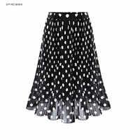 4XL 5XL grande taille jupe plissée en mousseline de soie pour Femme 2019 été taille élastique à pois imprimé jupes de plage Femme Saia Midi