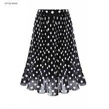 Falda plisada de gasa para mujer, Falda plisada de talla grande 4XL 5XL, cintura elástica, dibujo de lunares, playa, verano 2019