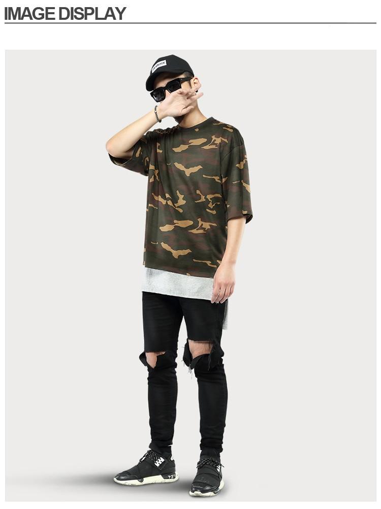 Camo Tee Hip Hop oversized t shirt men 2016 Fashion Mens Military Camouflage Short Sleeved t shirt O-Neck Kanye Tops Streetwear (14)