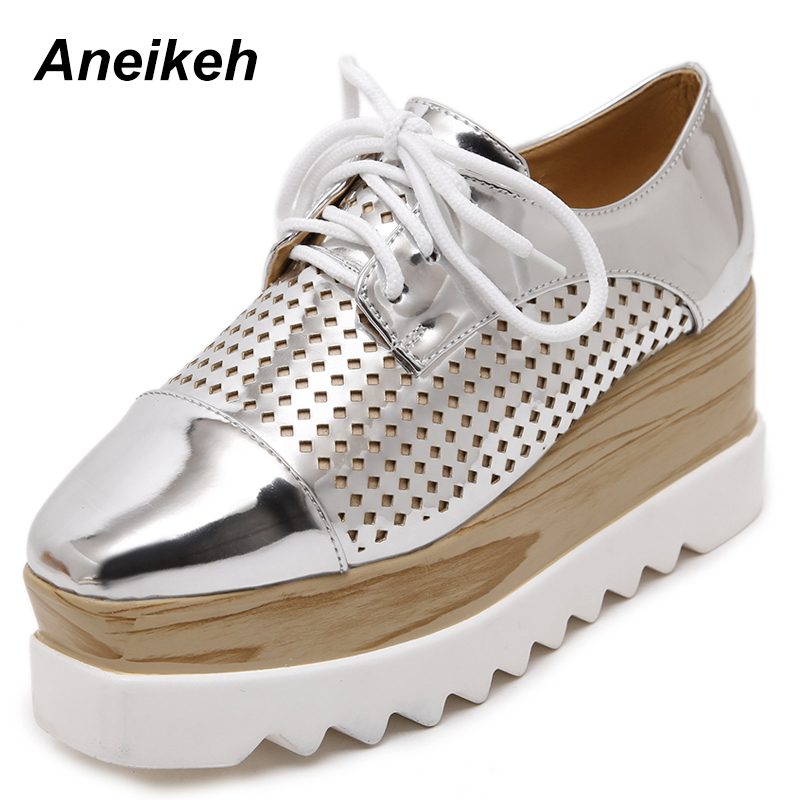 Aneikeh Women Platform Shoes Oxfords Brogue PU Leather Flats Lace Up Shoes Creepers Vintage Hollow Light Soles Casual Shoes