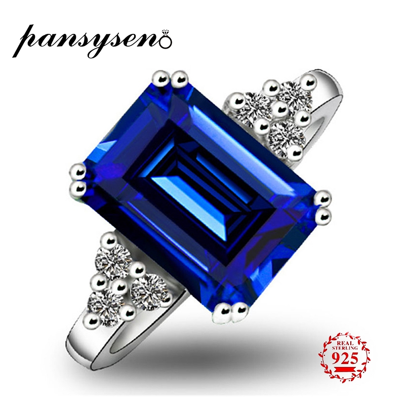 PANSYSEN 925 Sterling Silver Rings For Women Blue Topaz Ring Gemstone Sapphire Emerald Spinel Romantic Gift Engagement Jewelry