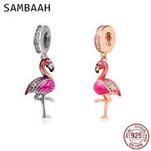 Sambaah Dangle Flamingo Dance Charm 925 Sterling Silver Tropical Beads fit Original Pandora Valentines Day Bracelet